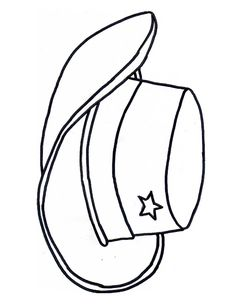 Free Cowboy boot outline | Cowboy Cowgirl hat colouring page craft kids