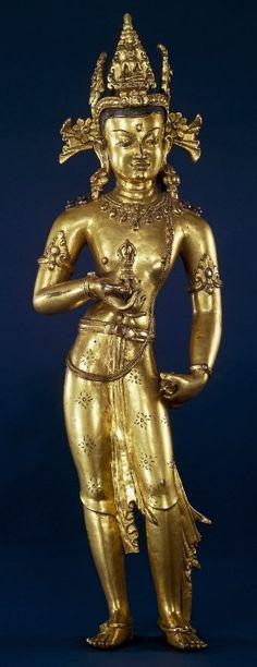 15th century, Nepal, buddha Vajrasattva, gilt copper, at the British Museum (London).