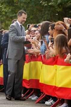 Spanish King Felipe VI greet the crowds as he attends International Cattle Fair on 02.10.2014 in Zafra, Spain.