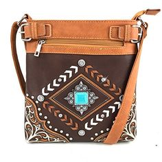 07131baff7 Concealed Carry Western Tritone Leather Fringe Strip Bohemian Arrow  Turquoise Square Concho Laser Cut Embroidered Flower Messenger Handbag