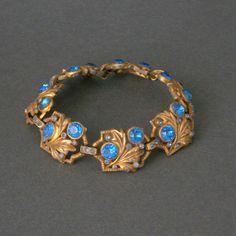 Vintage Blue Rhinestone Bracelet  1940s  Leaves and by pinguim, $110.00