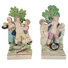 """""""Scuffle and Contest"""" Staffordshire Figurines circa 1790"""