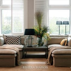 Here you see our Continental Sofa transformed into heavenly loungebeds! 😍 Styled with items from our Galapagos theme collection.  #rivieramaison #zomer2020 #ss20 #homedeco #interieur #homeinspo #woonkamer Exterior Design, Interior And Exterior, Sofa, Couch, Unique Furniture, Rattan, Pillows, Bed, Modern