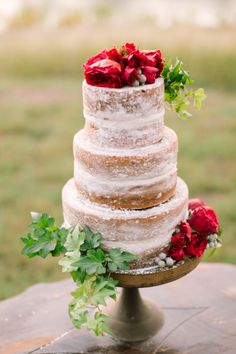 A pretty naked wedding cake: http://www.stylemepretty.com/little-black-book-blog/2014/12/25/lakeside-winter-wedding-inspiration/   Photography: Mint - http://mymintphotography.com/