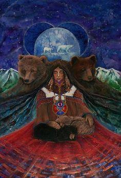 The Art of Cathy McClelland - Bear Meditation: kK Native American Artwork, Native American Artists, American Indian Art, Native American Indians, Animal Spirit Guides, My Spirit Animal, Bear Totem, Animal Medicine, Power Animal