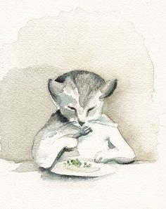 EAT YOUR PEAS - Archival print of watercolor. $20.00, via Etsy.
