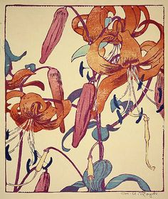 Tiger Lilies. woodcut by Mabel Royds