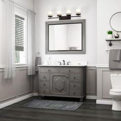 Grey Bathroom Cabinets, Gray Bathroom Walls, Bathroom Wall Colors, Wainscoting Bathroom, Single Sink Bathroom Vanity, Bathroom Interior, White Bathroom Vanities, Dark Floor Bathroom, Lowes Vanity