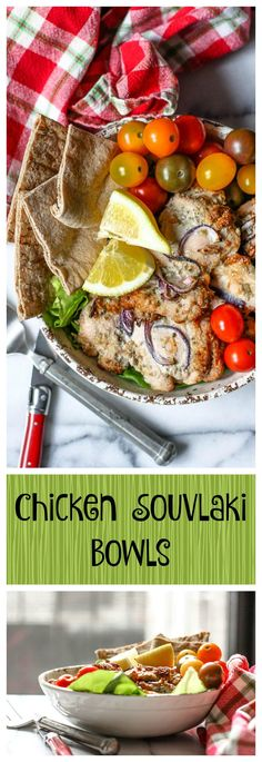 Chicken Souvlaki Bowls.  This recipe is for the most delicious and simple and healing Greek food ever! The ingredients will boost your mental and physical energy... you've got to try this one!
