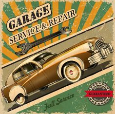 Vintage style car advertising poster vector 02