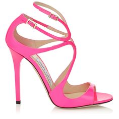 Raspberry Neon Patent Strappy Sandals | Lance | Pre Fall 15 | JIMMY CHOO Shoes