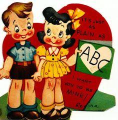 Vintage Valentine Card Cute Kids It's As Plain As ABC..