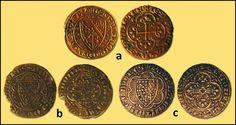 Numisarchives. Numismatic. Jetons. Navarre: Jetones con escudo dimidiado Navarra/Evreux, y cruz del reverso recta. a: Tipo 054; b: Tipo 056; c: Tipo 059.