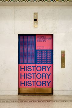 Zak Group art direct the second edition of the Chicago Architecture Biennial Wayfinding Signage, Signage Design, Layout Design, Branding Design, Design Design, Bold Typography, Typography Poster, Environmental Graphics, Environmental Design