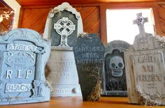 Fun way to update cheap styrofoam tombstones! Upcycle cardboard boxes with some glue, paint, moss, and a little creativity.