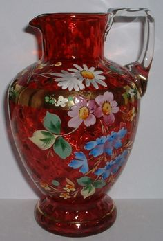 VICTORIAN GILDED & HAND PAINTED CRANBERRY GLASS PITCHER JUG