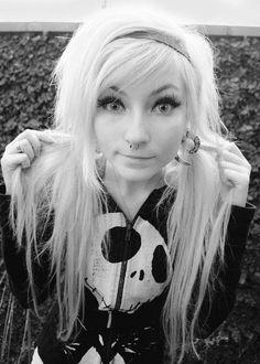 cute scene girl with platinum/white hair