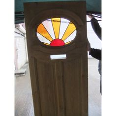 1930's Edwardian Original Stained Glass Exterior Door - Sunburst Sunrise