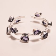 Amethyst Quartz . 925 Silver Plated Handmade Bangle Cuff Jewelry H53 #Handmade