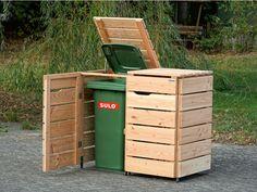 Kinderwagenbox / Kinderwagengarage aus heimischem Holz - Made in Germany Trash Can Storage Outdoor, Garbage Storage, Outside Storage, Stroller Storage, Bin Store, Wood Pallets, Pallet Wood, Outdoor Furniture, Outdoor Decor