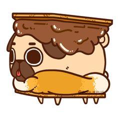 I want s'more weekends! S'more food! S'more s'mores! Cute Animal Drawings Kawaii, Kawaii Drawings, Cute Drawings, Pug Wallpaper, Cute Food Wallpaper, Kawaii Doodles, Cute Pugs, Cute Wallpapers, Pug Photos