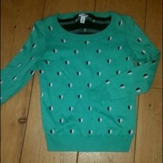 Green Sweater Cute green sweater with half black half white hearts design. NWOT. In excellent condition. Old Navy Sweaters Crew & Scoop Necks