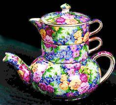 vintage chintz piece stacking tea set pot