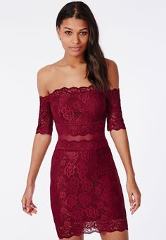 $40, Burgundy Lace Bodycon Dress: Missguided Kate Lace Bardot Midi Dress Burgundy. Sold by Missguided. Click for more info: https://lookastic.com/women/shop_items/154080/redirect
