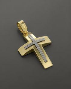 Σταυρός βάπτισης χρυσός & λευκόχρυσος Κ14