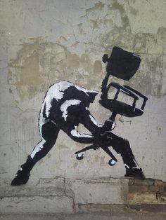 Banksy huge fan! I'm theming offices into better places, this says it all! #streetart jd