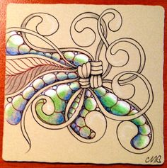More fun with 'Tints on Tan'. Prismacolour pencils and a little white gellyroll. I think it's time for a visit to the art shop for some ex. Tangle Doodle, Zen Doodle, Doodle Art, Zentangle Drawings, Doodles Zentangles, Doodle Patterns, Zentangle Patterns, Blackwork, Henna Designs