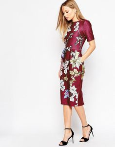 ASOS | ASOS Occasion Wiggle Dress in Floral Placement Print at ASOS