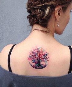 Pretty Tree Tattoo Design on the Back for Women