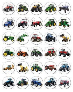 30 x Tractors - Kid's Party Rice Paper Fairy Cup Cake Toppers