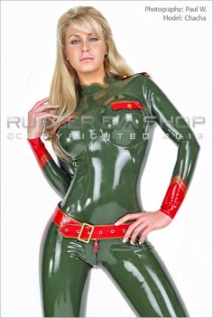Underwired Military Rubber Catsuit - Rubber Catsuits - Rubber Eva Shop