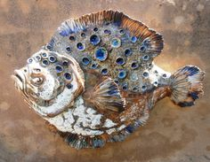 Sculptures in clay stoneware by Sylvain and Tara Bongard, studio in Ferragudo, Algarve. Fish Sculpture, Stoneware, Ceramics, Studio, Gallery, Wall, Ceramic Art, Clay Crafts, Ceramic Pottery