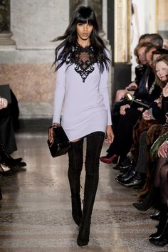 Lace coming and going and in all the daring places: Emilio Pucci Fall 2013 RTW Collection - Fashion on TheCut London Fashion Weeks, Milano Fashion Week, Couture Fashion, Runway Fashion, Fashion Beauty, Fashion Show, Womens Fashion, Milan Fashion, Ladies Fashion