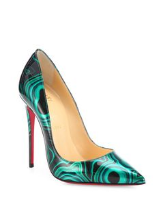 Christian Louboutin | Green So Kate Printed Patent Leather Point-toe Pumps | Lyst