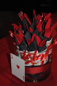 black & red knifes and forks