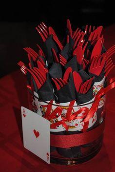 black & red knifes and forks