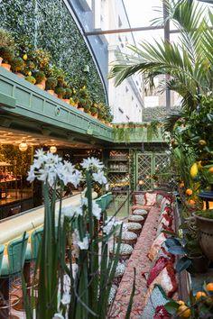Outdoor Restaurant Design, Restaurant Interior Design, Restaurant Ideas, Evergreen Herbs, Garden Design London, Restaurants, Backyard Seating, Patio, World Of Interiors