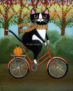 An Autumn Bicycle Ride Original Folk Art Digital Print by KilkennycatArt on Etsy https://www.etsy.com/listing/129941106/an-autumn-bicycle-ride-original-folk-art