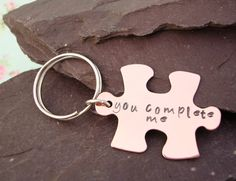 You Complete Me Key Chain Hand Stamped Copper Key by EllisAndPip, £14.00