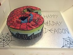 Spiderman number 6 cake
