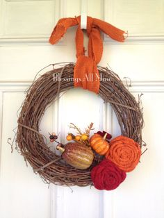 Your place to buy and sell all things handmade Decorative Gourds, Thanksgiving Wreaths, Burlap Flowers, Grapevine Wreath, Fall Decor, Hanger, Pumpkin, Autumn, Make It Yourself