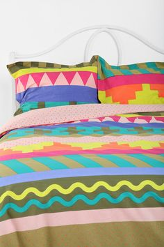 Beci Orpin Stripe Geo duvet and pillows for urban outfitters