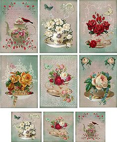 Vintage inspired Tea Cup Tea Pot note cards ATC altered art set 6 & mini cards in Home & Garden, Greeting Cards & Party Supply, Greeting Cards & Invitations | eBay
