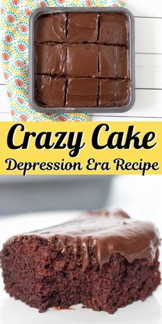 This easy chocolate crazy cake recipe is made without eggs, milk, or butter. The result is a rich, fudgy, and delicious chocolate cake! #crazycake #easydessert #chocolate #cake #dessert #cakerecipes #oldrecipes
