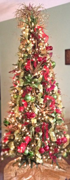 Red, green, and gold Christmas tree