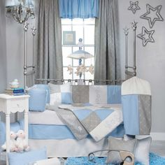 Decorative Blue Uni Baby Boy Silver Gingham Nursery Crib Bedding Set In Sets